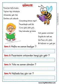 Turkish Lessons, Learn Turkish Language, Kids Learning Activities, Reading Passages, Stories For Kids, Activity Games, First Grade, Learn English, Special Education