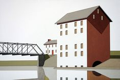 Hard-edge paintings of bridges, towering structures and signage by American artist William Steiger.