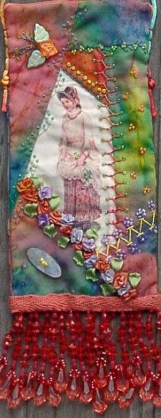 crazy quilt...love the fabrics and the simple beading on them...something to think about