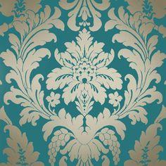 I Love Wallpaper Shimmer Metallic Grande Damask Wallpaper Rich Teal, Gold (ILW261522)