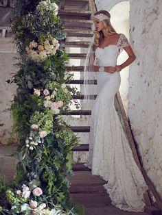 Magnificent Trumpet/Mermaid Straps Neckline Sweep/Brush Train Lace Wedding Dress