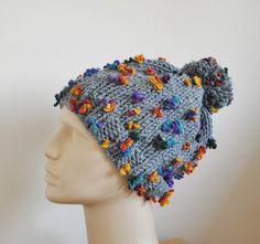 Pom Pom Hat Knit Gray Big Pom Pom Hat by BouquetSpecialDesign, $30.00