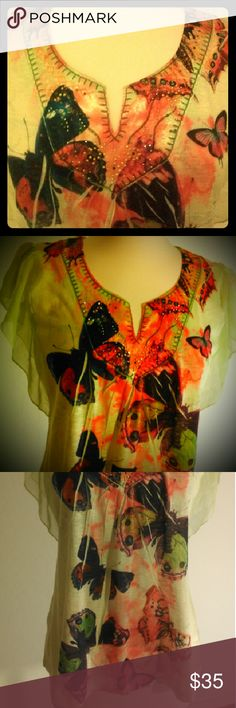 Beautiful Butterfly Blouse  Sz. L Light green butterfly blouse. In excellent condition. ONE WORLD Tops Blouses