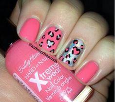 Cheetah heart nails