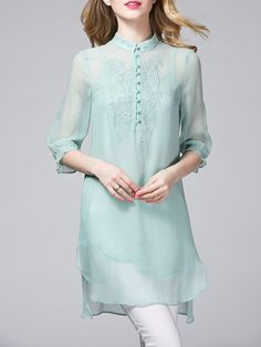 Light Blue Embroidered 3/4 Sleeve V Neck Two Piece Tunic