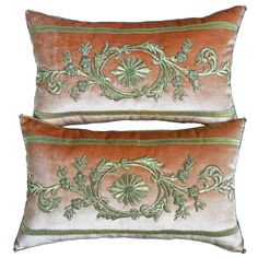 Antique Ottoman Empire Raised Gold Metallic Embroidery Pillows | From a unique collection of antique and modern pillows and throws at https://www.1stdibs.com/furniture/more-furniture-collectibles/pillows-throws/