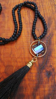Long black tassel necklace. Long beaded by AllAboutEveCreations
