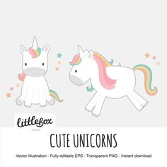 Cute Unicorns Vector Clipart instant download by LittleBoxStudio