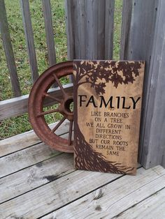 Wooden Family Sign - Family Roots Sign - Stained Rustic Sign - Family Wall Decor - Tree Sign - Like Branches On A Tree Roots Remain The Same, Wood Burning Crafts, Wood Burning Patterns, Wood Burning Art, Family Tree Wall Decor, Wood Burn Designs, Family Roots, Family Signs, Wooden Crafts, New Wall
