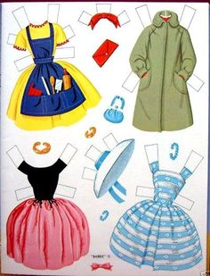 Barbie Paper Doll 2 of 7 Paper Dolls Clothing, Barbie Paper Dolls, Vintage Paper Dolls, Vintage Barbie, Doll Clothes, Antique Dolls, Paper Toys, Paper Crafts, Paper People