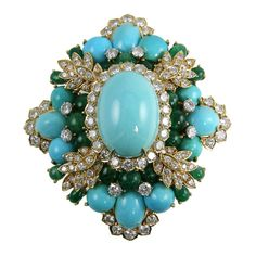 Amazing Turquoise Emerald and Diamond Brooch at 1stdibs