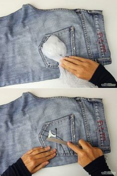 So you sat in some gum. NBD! Get it out by freezing it and then scraping it off with a butter knife.   52 Seriously Ingenious Clothing And Shoe Hacks That'll Make Your Life...