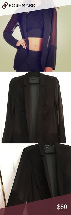 Guess by Marciano sheer and satin blazer Amazing sheer and satin guess by Marciano blazer.  Great to dress any outfit up!  Awesome staple piece for your closet!  Worn once.  Size 10. Guess by Marciano Jackets & Coats Blazers