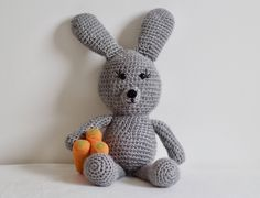 Amigurumi bunny for nursery decor. Large stuffed animal for boys and girls. Grey rabbit cuddle toy. by orshie on Etsy