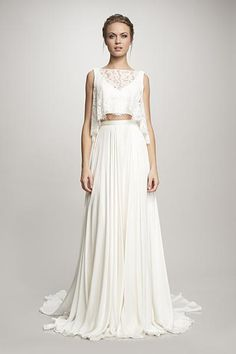 Crop Trop Wedding Dress :: Two Piece wedding dress for Beach weddings. Theia Bridal offers crop top wedding dress separates for a youthful and modern look.
