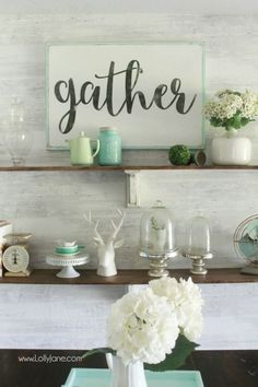 Pretty farmhouse dining room shelves, click through to see how easily the room came together. Step by step how to create this look! Pretty farmhouse dining room decor ideas! DIY farmhouse shelves using stain + paint! | Shop now: https://www.etsy.com/listing/243648125/gather-wooden-sign