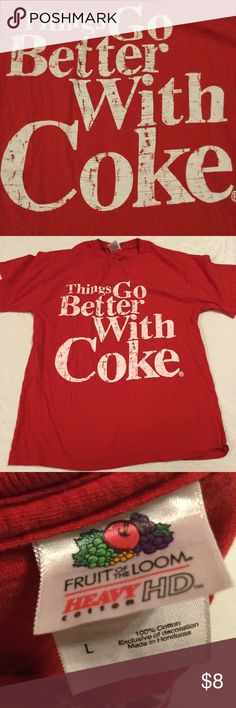 """Things go better with coke t Shirt adult large Chest is 22"""" across length is 29"""" Shirts Tees - Short Sleeve"""
