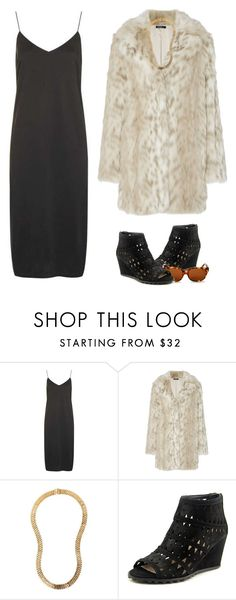 """""""Joanne the Scammer"""" by brooklynbeatz ❤ liked on Polyvore featuring Topshop, Lanvin, Via Spiga, Corinne McCormack, Wedges, slipdress and fauxfurcoats"""