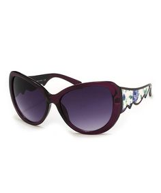 Another great find on #zulily! Purple Floral Tess Cat-Eye Sunglasses #zulilyfinds