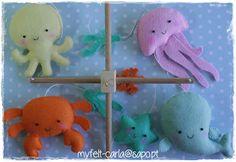 Mobile com animais marinhos em feltro!