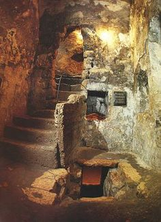 Interior of the Tomb of Lazarus, which is a traditional spot of pilgrimage located in the West Bank town of al-Eizariya, traditionally identified as the biblical village of Bethany, on the southeast slope of the Mount of Olives, some 2.4 km (1.5 miles) east of Jerusalem. The tomb is the purported site of a miracle recorded in the Gospel of John in which Jesus ressurects Lazarus.