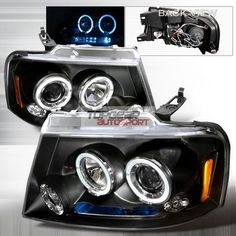 Ford F150 2004-2008 Black Dual Halo Projector Headlights with LED...These would look AWESOME on my truck!