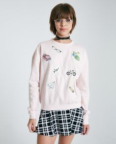 Long Sleeve Fleece Pullover With School Patches | Wet Seal
