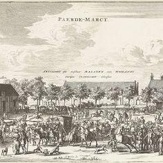 Gezicht op de Paardenmarkt te Delft, Coenraet Decker, 1678 - 1703 - Rijksmuseum