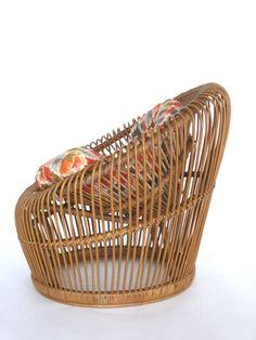 Rattan Bucket Chairs by Franco Albini for Vittorio Bonacina