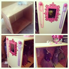 Finally Completed This For My Baby Girl. From An Old Dresser Into A  Princess Dress Up Closet. Beads, Hangers, And Mirror From The DollarStore.