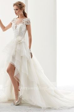 Floor-Length Scoop Split-Front Long-Sleeve Lace Wedding Dress Illusion Jewel-Neck High-Low Bridal Gown With Ruffles And T-Shirt Sleeves Tulle Wedding Gown, Elegant Wedding Gowns, Country Wedding Dresses, Hi Low Wedding Dress, Lace Wedding, Chic Wedding, Wedding Ideas, Cowgirl Wedding, Country Weddings