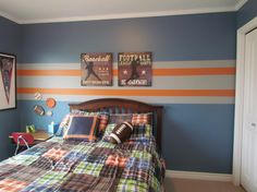 4 year old sons sport theme bedroom. , Blue walls with orange and gray stripes. 4 year old sons sport theme bedroom. , Blue walls with orange and gray stripes. Sports theme with f Grey Striped Walls, Striped Room, Blue Walls, Gray Stripes, Stripe Walls, Stripes Design, Striped Walls Bedroom, Wall Stripes, Bedroom Themes
