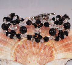 Looped Black and Clear Crystal And Pearl Bracelet - pinned by pin4etsy.com