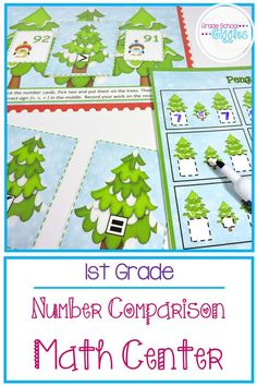 Kindergarten and first grade Common Core math is all about place value. Number comparison is an essential skill for kids to learn. This fun math center is perfect for a teaching any student to use their symbols when comparing numbers to 100. There is a printable game or center activity with cards and worksheets. These Christmas or winter themed math activity can easily be differentiated for kindergarteners just learning to compare small numbers through second grade students reviewing.