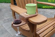 Cup and Wine glass holder for Adirondack Chair ~ Works on almost any chair that has thick armrest.: - My Easy Woodworking Plans