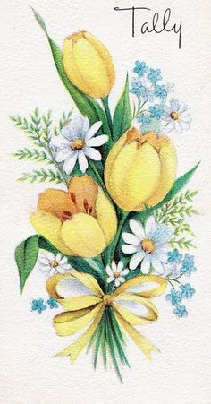 use as pattern for parchment Tole Painting, Fabric Painting, Painting & Drawing, Watercolor Flowers, Watercolor Paintings, Art Vintage, Arte Floral, Yellow Roses, Vintage Flowers