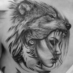 Collection of Wolf Headdress Drawing . Wolf Tattoo Sleeve, Chest Tattoo, Sleeve Tattoos, Realistic Tattoo Sleeve, Tattoo Wolf, Wolf Girl Tattoos, Indian Girl Tattoos, Wolf Headdress, Headdress Tattoo