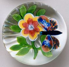 "Currier Collections Online - ""Butterfly and Flower Paperweight"" by Baccarat Glasshouse"