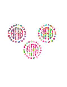 Lilly Inspired Monogram decal - Frame Bow Decal - Pearls Bow Monogram - Car decal - Vinyl decal -Yeti decal - Planner decal  - Circle Frame