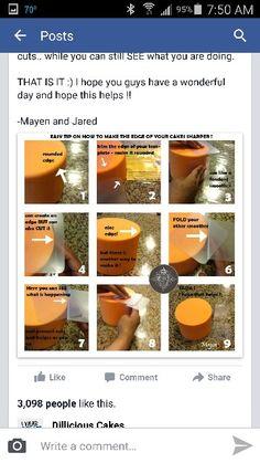 Sharp edges on fondant Cake Decorating Tips, Cantaloupe, Fondant, Canning, Fruit, Food, Essen, Meals, Home Canning