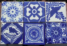 """12~MEXICAN TALAVERA POTTERY 4"""" tile Blue white Birds hand painted + Italy CD"""