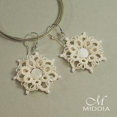 Frywolitka szydełkowa: Kolczyki bardzo koronkowe - Earrings like lace