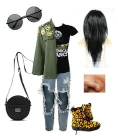 """""""Untitled #179"""" by explicitlovesong ❤ liked on Polyvore featuring One Teaspoon, NIGHTMARKET, Dr. Martens, MLC Eyewear and Vans"""