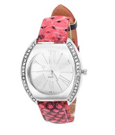Loved it: Tropez Women's Crystal Studded Silver Dial Red Python Strap Watch, http://www.snapdeal.com/product/tropez-womens-crystal-studded-silver/1737289863