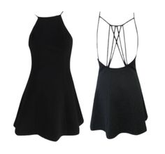 Strappy Back Skater Dress - Available in black and white
