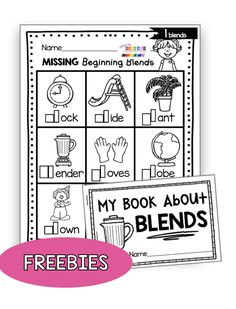 PHONICS FREEBIES - Complete units to teach all the kindergarten phonics standards - print free resources including phonics worksheets - phonics center Consonant Blends Worksheets, Phonics Blends, Phonics Worksheets, Phonics Centers, Phonics Activities, Free Activities, Summer Activities, Family Activities, Kindergarten Freebies