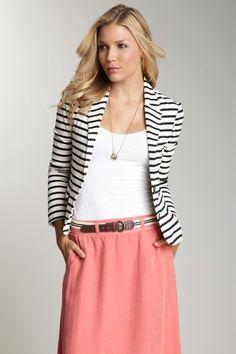 pink skirt, white shirt, black/white striped blazer, belt