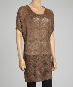 Take a look at this Brown Linen-Blend Sweater Tunic - Women by Pretty Angel on #zulily today!