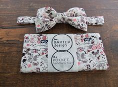 Groom's Wedding Set Pre Tied Bow Tie and Pocket by BartekDesign, €32.00