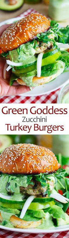 Green Goddess Zucchini Turkey Burgers